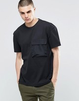 adidas BLK/WVN T-Shirt In Boxy Fit With Pocket BQ3531