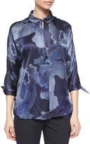 Armani Collezioni Watercolor-Print Satin Tunic, Blue Multi