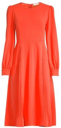 Tory Burch Long-Sleeve Crepe Flare Dress