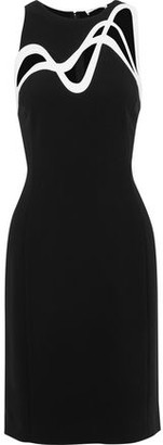 Thierry Mugler Cutout Leather-trimmed Cady Dress