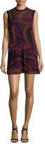 M Missoni Sleeveless Ribbed Geometric-Knit Dress, Fuchsia