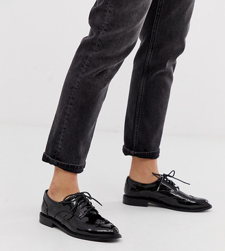 ASOS DESIGN More flat lace up shoes in black