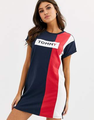 Tommy Hilfiger t-shirt beach dress cover up in navy-Multi