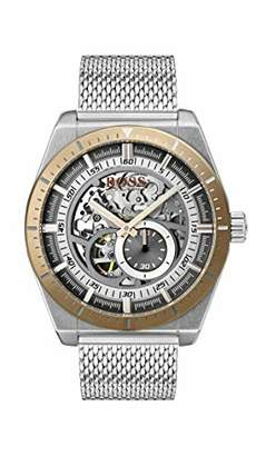 HUGO BOSS Mens Skeleton Automatic Watch with Stainless Steel Strap 1513657