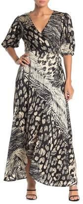 Love Stitch Patchwork Print Maxi Wrap Dress