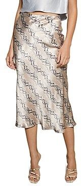 Bec & Bridge Snakeskin-Print Midi Skirt