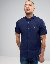 Lyle & Scott Pique Shirt Short Sleeve Buttondown Regular Fit Eagle Logo In Navy