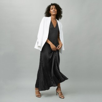 The White Company Tile-Print Dress, Black, 4