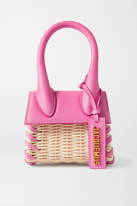 Jacquemus Le Chiquito Leather-trimmed Straw Tote - Bright pink