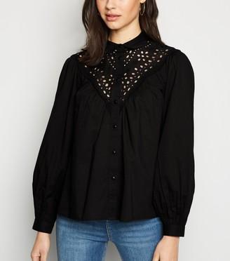 New Look Broderie Long Puff Sleeve Shirt