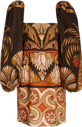 Johanna Ortiz Deluge Puffed-Sleeve Cotton Dress
