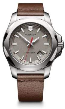 Victorinox INOX Stainless Steel & Leather Textured Dial Strap Watch