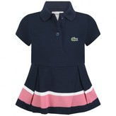 Girls Navy Pique Polo Top With Stripe