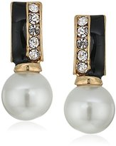 """Anne Klein Sweet Pearls"""" Gold-Tone Jet and Crystal Pearl Post Drop Earrings"""