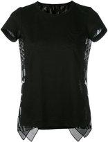 Sacai hounds-tooth insert t-shirt - women - Linen/Flax/Polyester - 1