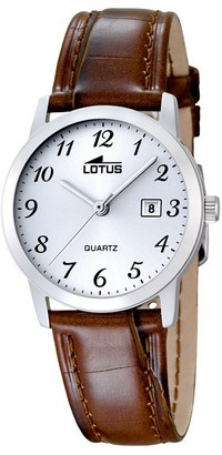 Lotus Women's Quartz Watch with White Dial Analogue Display and Brown Leather Strap 18240/2