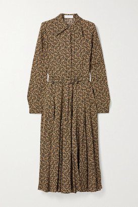 Michael Kors Paisley-print Silk Crepe De Chine Shirt Dress - Brown