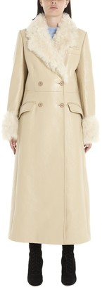 Miu Miu Fur Trimmed Double Breasted Trench Coat