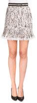 Carven Plisse Georgette Splatter Skirt, White/Black