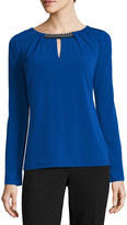 Liz Claiborne Long Sleeve Crew Neck Knit Blouse-Talls