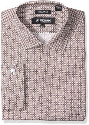 Stacy Adams Men's Big and Tall Big & Tall Abstract Floral Checked Classic Fit Dress Shirt