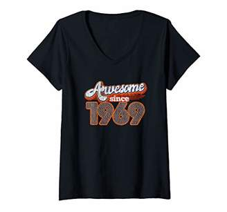 Womens Vintage Awesome Since 1969 50th Birthday Gift 50 Years Old V-Neck T-Shirt
