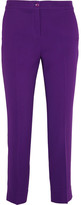 Etro Capri Cropped Crepe Slim-leg Pants - Purple