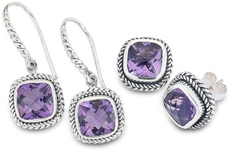 Samuel B. Sterling Silver 2-Piece Cushion-Cut Amethyst Earrings Set