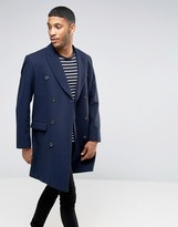 Asos Wool Mix Double Breasted Overcoat In Navy