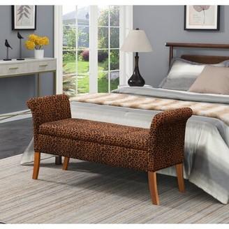 Bloomsbury Market Aali Upholstered Flip Top Storage Bench Color/ Pattern: Forest Leopard Print