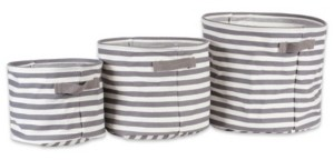 Design Imports Polyethylene Coated Herringbone Woven Cotton Laundry Bin Stripe Round Set of 3