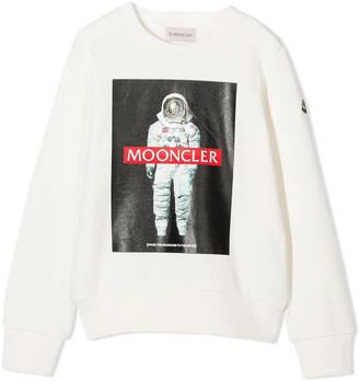 Moncler White Cotton Sweatshirt