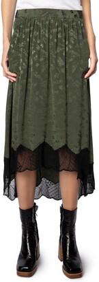 Zadig & Voltaire Joslin Jacquard Silk Lace Hem High/Low Skirt