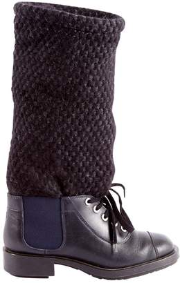 Chanel \N Navy Leather Boots