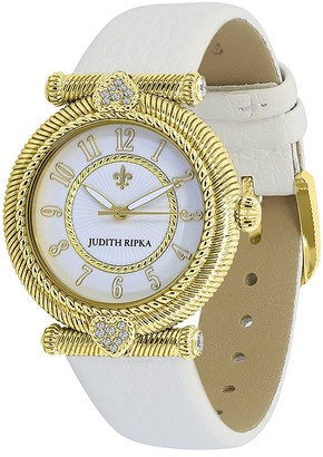 Judith Ripka Goldtone Parisian Leather Strap Watch