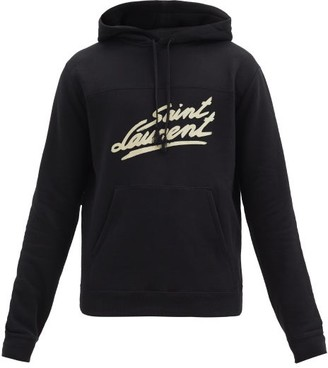 Saint Laurent Signature Logo-print Cotton Hooded Sweatshirt - Black