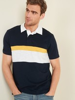 Old Navy Slub-Knit Color-Blocked Short-Sleeve Rugby Polo for Men