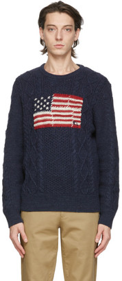 Polo Ralph Lauren Navy Cable Knit Flag Sweater