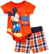 Children's Apparel Network Mickey Mouse Orange Bodysuit & Navy Plaid Shorts - Infant