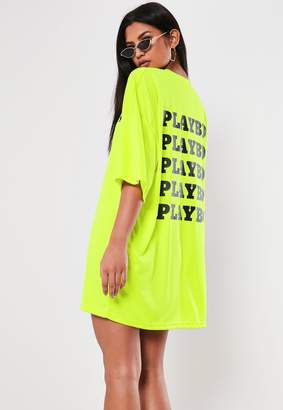 Missguided Playboy X Lime Repeat Back Slogan T Shirt Dress