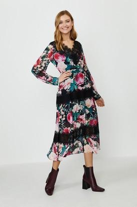 Coast Printed Lace Trim Long Sleeve Dress