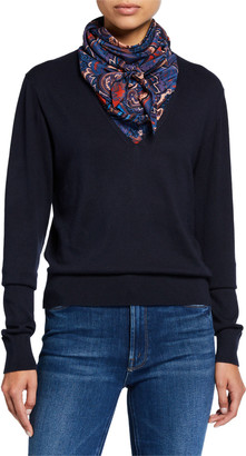 See by Chloe Combo Pullover Sweater with Silk Paisley Scarf