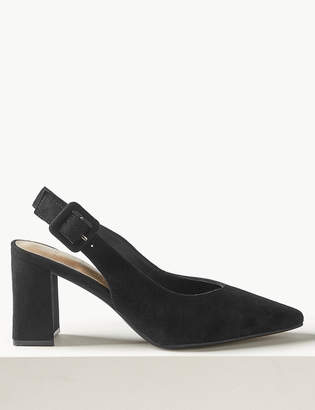 Marks and Spencer Suede Block Heel Slingback Shoes
