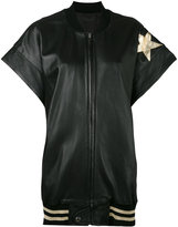 Faith Connexion star patch bomber gilet - women - Calf Leather/Acrylic/Polyamide/Metallized Polyester - M