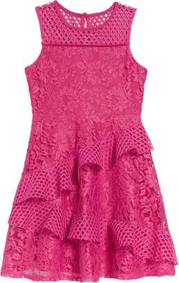 Blush by Us Angels Techno Lace Ruffle Dress