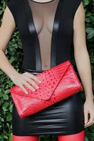 JJ Winters Leather Croco Envelope Clutch in Red