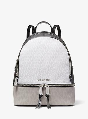 MICHAEL Michael Kors MK Rhea Medium Color-Block Logo Backpack - White Combo - Michael Kors