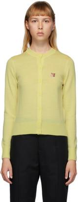 MAISON KITSUNÉ Yellow Wool Fox Head Cardigan