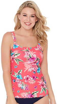 Croft & Barrow Women's Ruched D-Cup Tankini Top with Rings