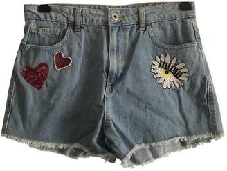 Chiara Ferragni Blue Cotton Shorts for Women